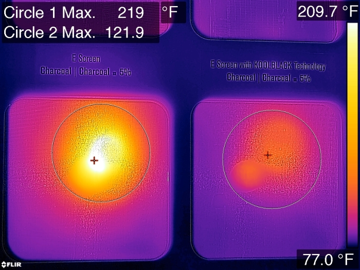 Mermet set up an experiment to show how their KoolBlack window screens reflect unwanted heat. Note right circle is almost 100 degrees cooler.